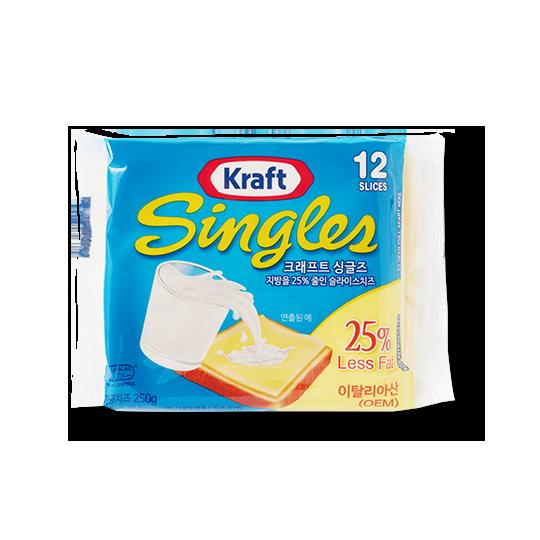 크래프트 싱글즈 슬라이스 치즈  25% 저지방 250g